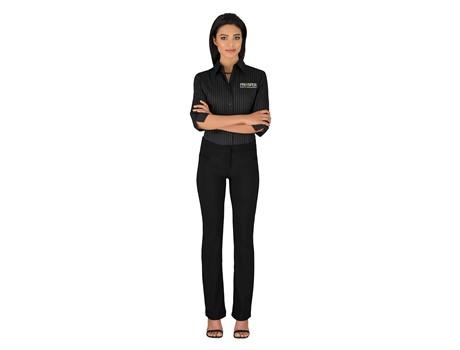 Ladies 3/4 Sleeve Manhattan Striped Shirt Golf Shirts
