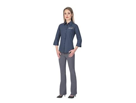 Ladies 3/4 Sleeve Micro Check Shirt Golf Shirts