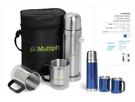 Admiral 500Ml Double-Wall Flask & Mug Set Drinkware