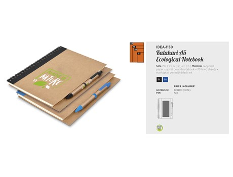 Kalahari A5 Ecological Notebook Eco-friendly Products