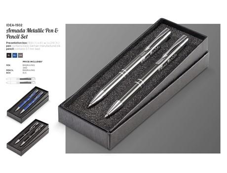 Armada Metallic Pen And Pencil Set Giftsets