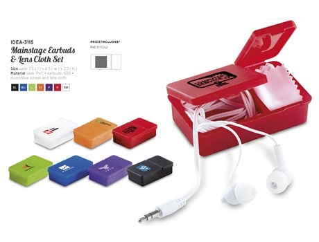 Mainstage Earbuds And Lens Cloth Set First Aid and Personal Care