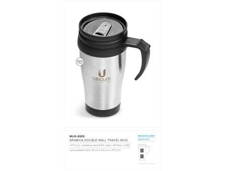 Arabica Double-Wall Travel Mug – 450ml Drinkware