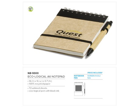 Eco-Logical A6 Notepad – Black Only Eco-friendly Products