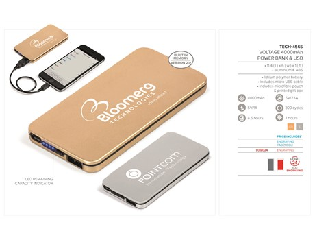 Voltage 4000mAh Power Bank & USB – Gold Only Gift Ideas for Her