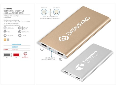 Odeon Slim Executive 4000mAh Power Bank Gift Ideas for Her