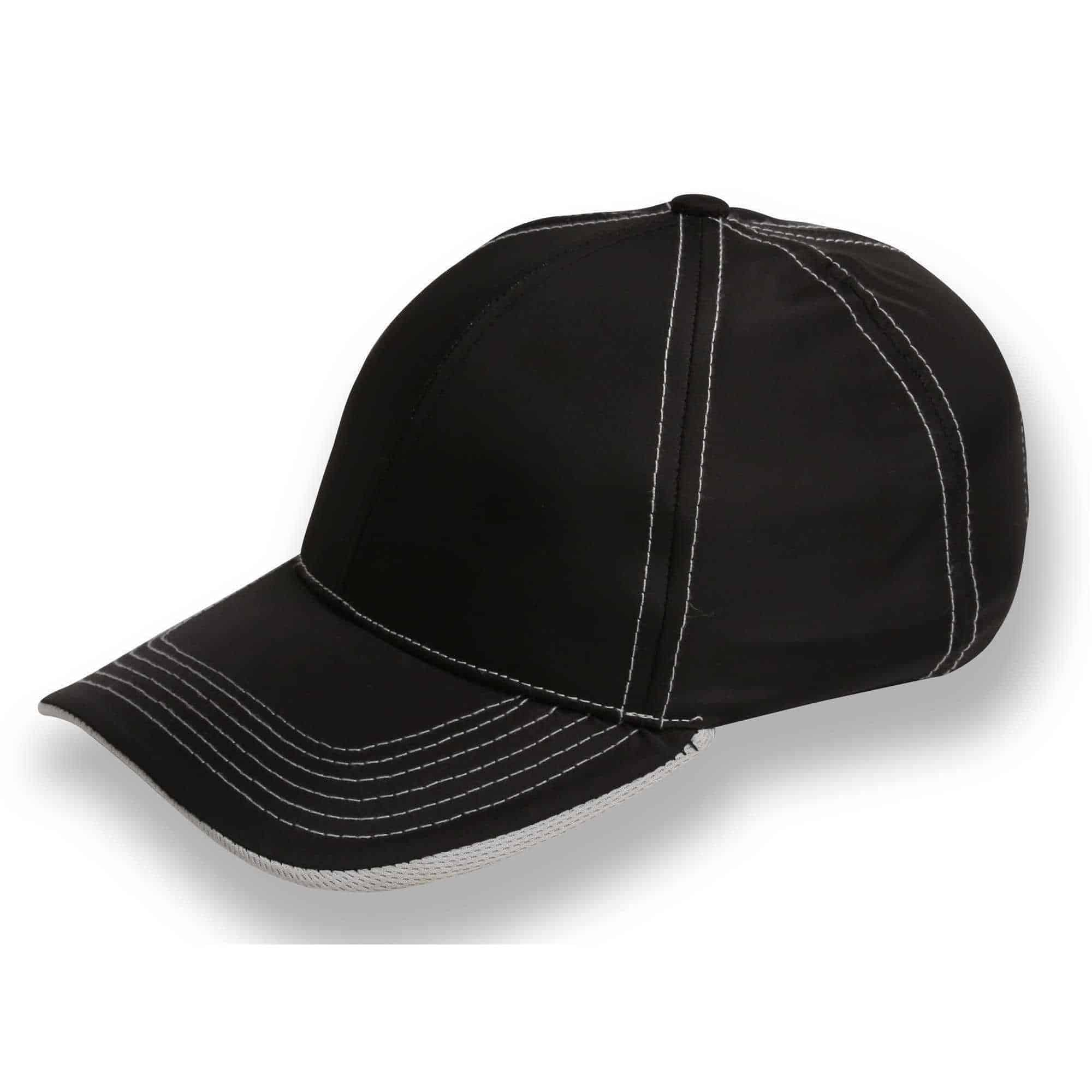 Benchmark 6 Panel Cap With Contrast Stitching Grey Underpeak Headwear and Accessories
