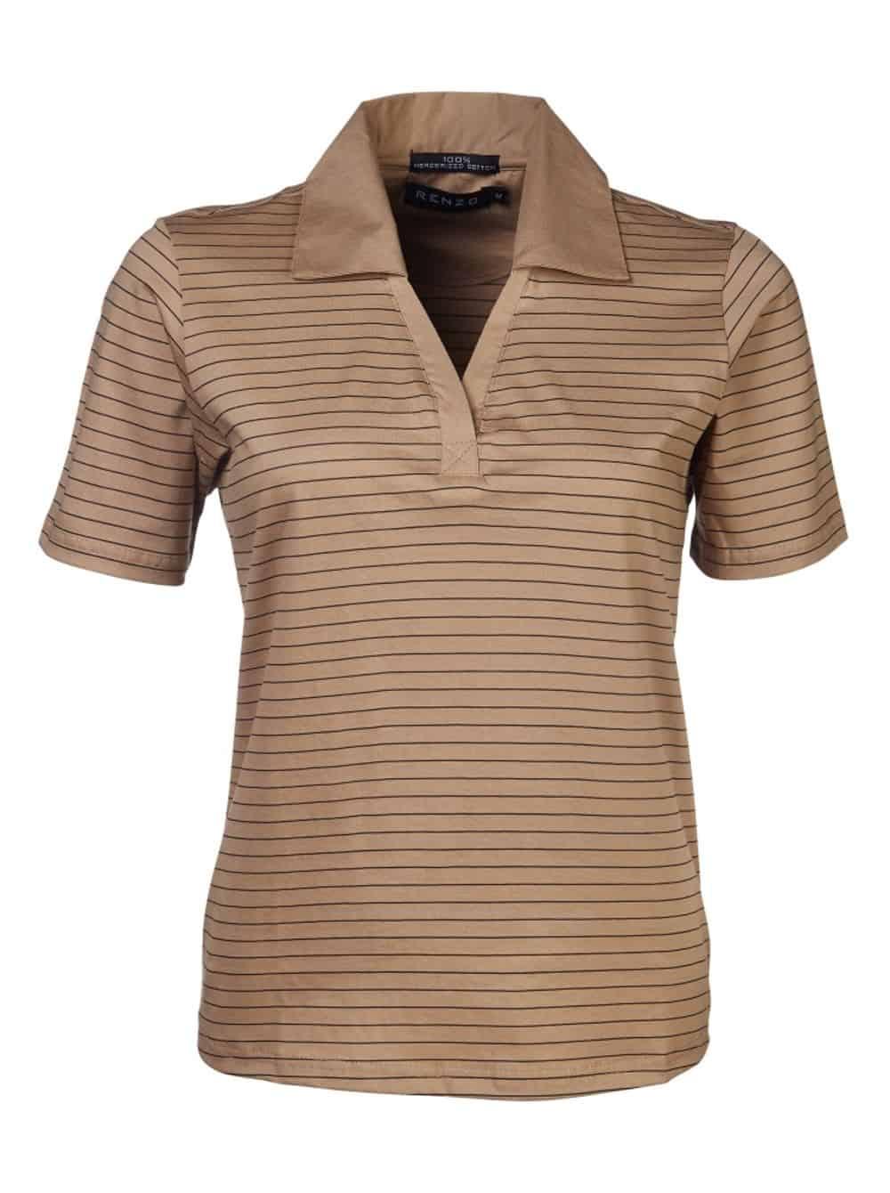180G Ladies Double Mercerized Yarn Dyed Golfer Golf Shirts