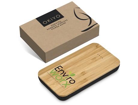 Okiyo Sumatra 6000mAh Bamboo Wireless Power Bank Environmentally Friendly Ideas