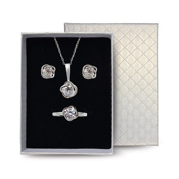 Sterling Silver Rose Jewellery Set Headwear and Accessories