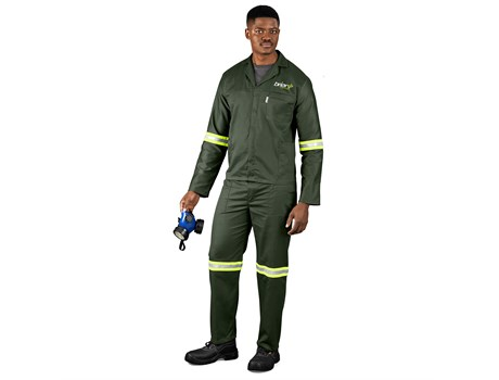 Acid Resistant Polycotton Conti Suit – Reflective Arm & Legs – Yellow Tape Workwear and Hospitality
