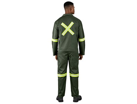 Acid Resistant Polycotton Conti Suit – Reflective Arm, Legs & Back – Yellow Tape Workwear and Hospitality