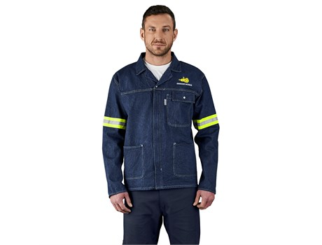 Cast Premium 100% Cotton Denim Jacket – Reflective Arms – Yellow Tape Workwear and Hospitality