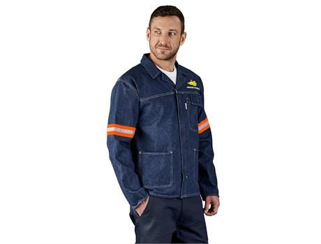 Cast Premium 100% Cotton Denim Jacket – Reflective Arms – Orange Tape Workwear and Hospitality
