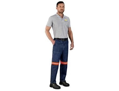 Cast Premium 100% Cotton Denim Pants – Reflective Legs – Orange Tape Workwear and Hospitality