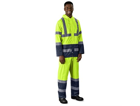 Torrent Two-Tone Hi-Viz Reflective Rubberised Polyester/Pvc Rainsuit Workwear and Hospitality